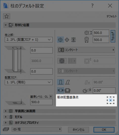 柱の配置基準点