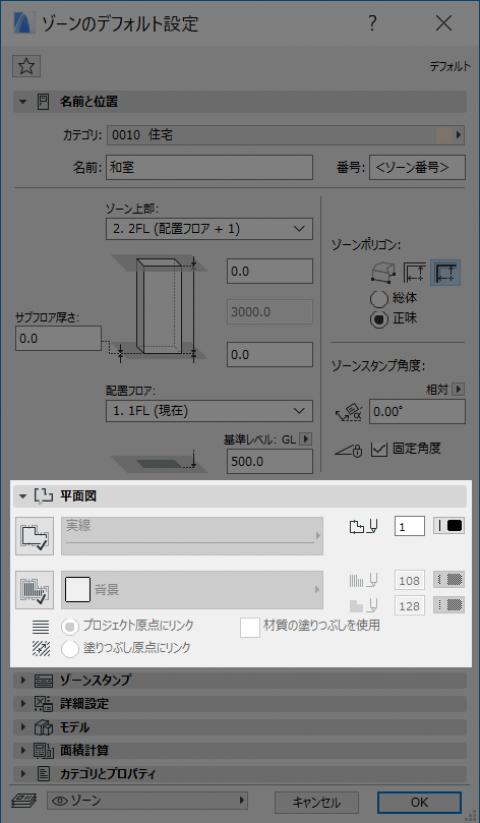 ゾーンの平面図表示